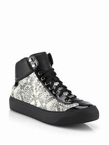 Jimmy choo Argyle Snake-Print High-Top Sneakers in Black ...
