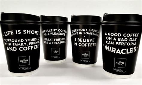 They are usually written on the sides of the cups. The Coffee Club NZ launches new range of takeaway cups | QSR Media