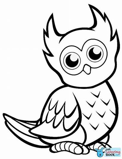 Owl Coloring Printable Owls Easy Cartoon Mignon