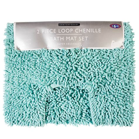 bathroom mat set b m gt 2pc loop chenille bath mat set 263935