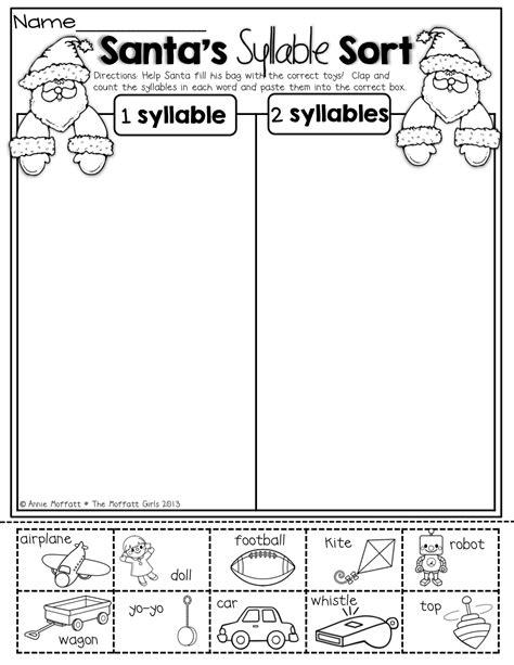 santa s syllable sort kinder kindergarten