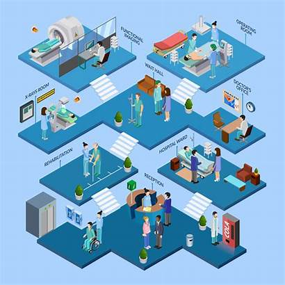 Hospital Isometric Concept Vector Structure Illustration Layout