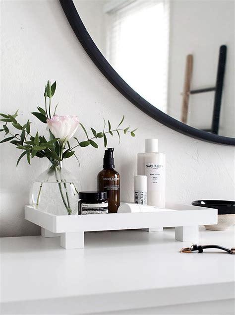 bathroom vanity tray ideas  organizing   sleek