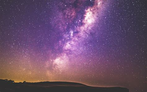 Wallpaper Starry Sky Milky Way Purple Sky Night Sky 4k