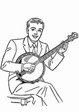 Banjo Coloring Printable Pages sketch template