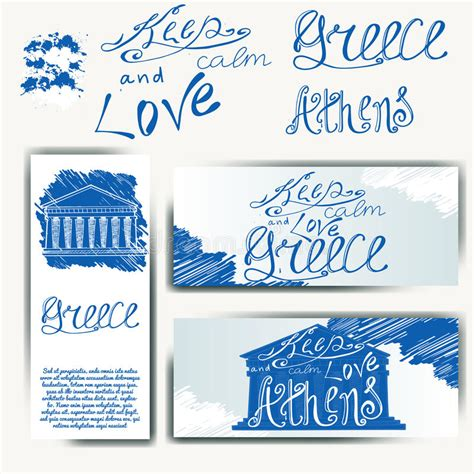 google gr art christmas cards vector illustration with phrase keep calm and greece poster design with creative