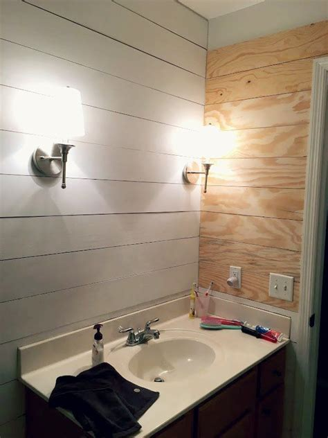 turn  tired bathroom   spa  faux shiplap   light   gray color