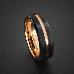 tungsten wedding band mens ring two tone rose gold black With black tungsten ring rose gold wedding band