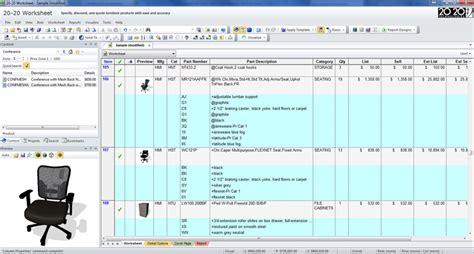 2020 Worksheet - Office Furniture Specification Software