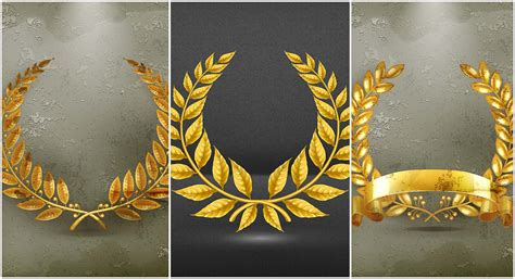 set  golden wreaths vector