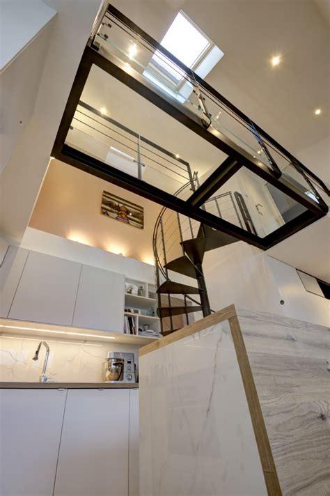 amenagement appartement vefa passerelle escalier colimacon