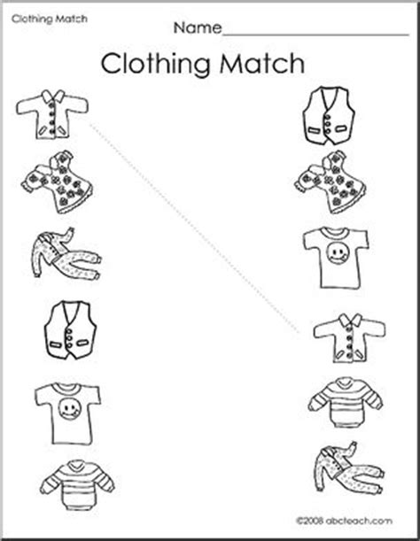 worksheet clothing match  preschoolprimary abcteach