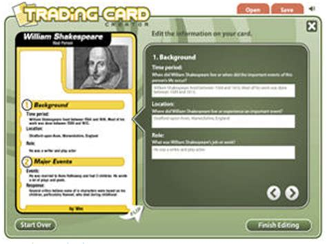 Read Write Think Postcard Template by Trading Card Creator Readwritethink