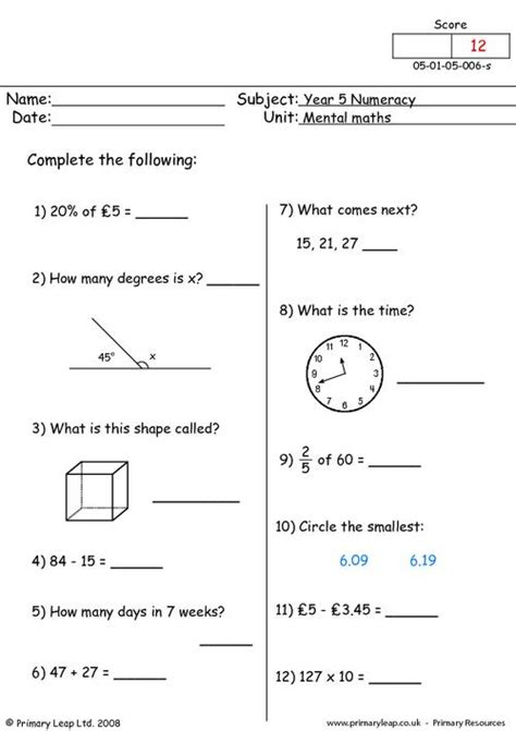 mental maths 6 primaryleap co uk