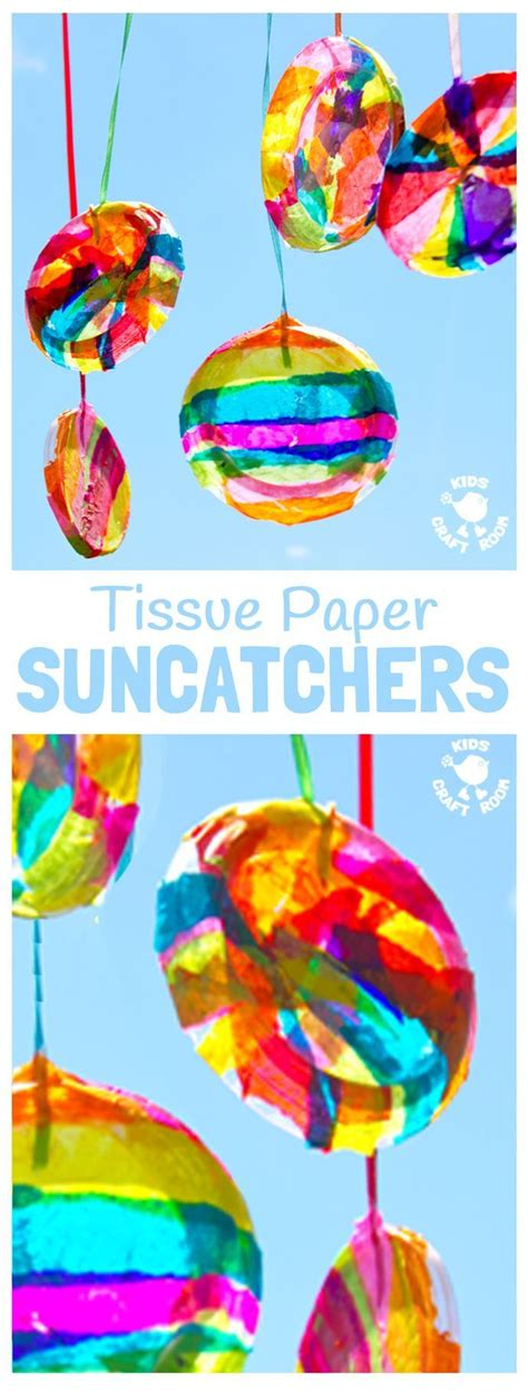 colourful suncatchers summer crafts  kids summer