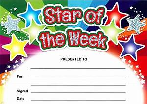 star of the week rainbow certificates sparkling With star of the week certificate template