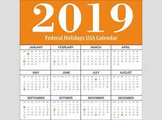Printable Yearly Calendar Federal Holidays 2019 USA