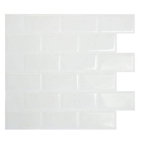 white peel and stick tile smart tiles 9 70 in x 10 95 in mosaic decorative wall