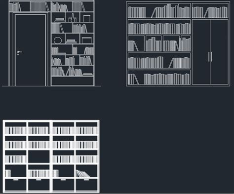 bookshelves cad block  typical drawing  designers