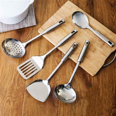kitchen cooking accessories 5pcs stainless steel turner kitchen cooking tools set 3412