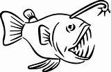 Fish Angler Coloring Pages Teeth Sharp Monster Carnivore Deep Sea Drawings Template Drawing Draw Cartoon Creature Getcoloringpages Sketch 394px 65kb sketch template