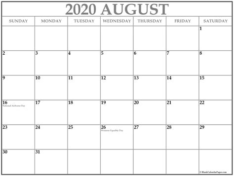 collection august calendars holidays