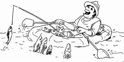 Fischen Boot Coloring Einem Comics Mann Ausmalbilder