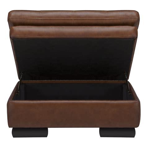Brown Leather Ottoman by Trevor Medium Brown Leather Storage Ottoman