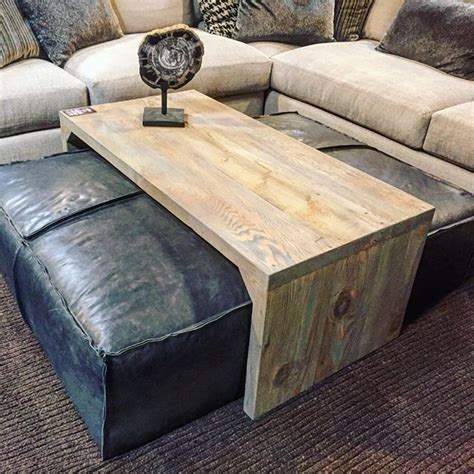 Table With Ottomans by Leather Ottoman Sliding Wood Coffee Table Stylish