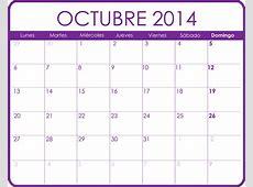 Calendario Octubre 2014 Calendarios para imprimir