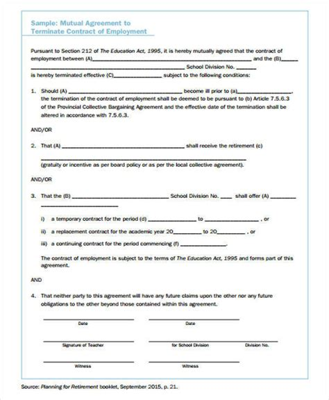termination contract samples templates   word