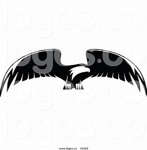 Royalty Free Vector of a Black and White Flying Bald Eagle ...