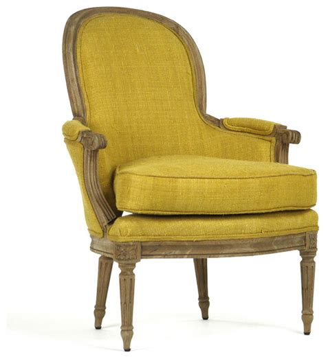 emeze country saffron yellow carved wood bergere
