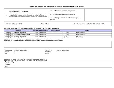 Pre Qualification Template by Pre Qualification Audit Checklist Report