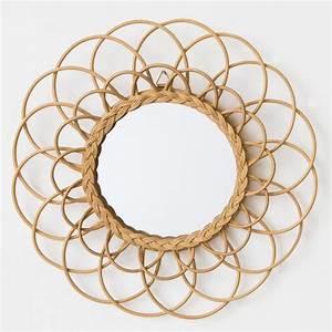 Miroir En Rotin : sunny miroir rond en rotin 60 cm achat vente ~ Nature-et-papiers.com Idées de Décoration
