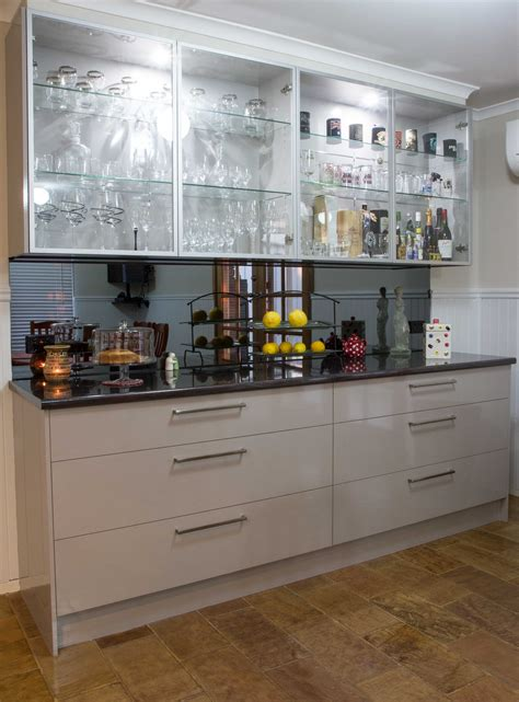 buffet bar glass overhead cabinet doors smoked mirror