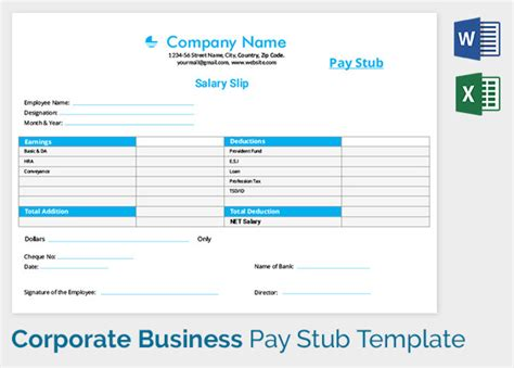 pay stub template   samples examples formats