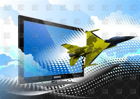 military airplane flys   computer monitor vector