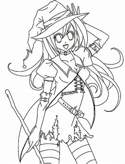 Coloring Anime Pages Halloween Template Colouring Sheet