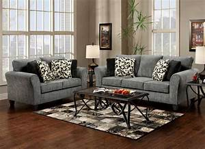 Black and gray living room furniture with cream wall for Cream and black living room furniture