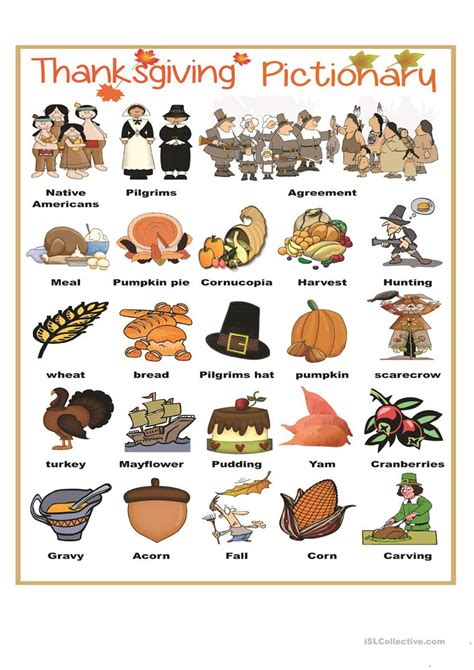 thanksgiving pictionary worksheet  esl printable