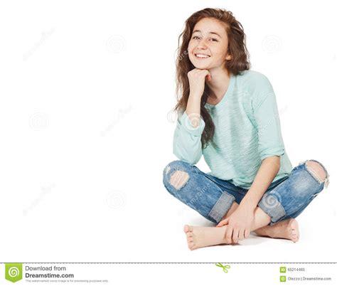 Cheerful Cute Teen Girl Years Isolated White