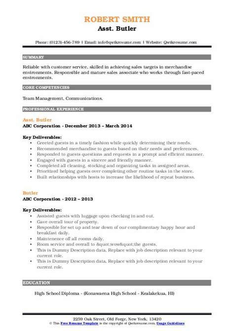 butler resume samples qwikresume