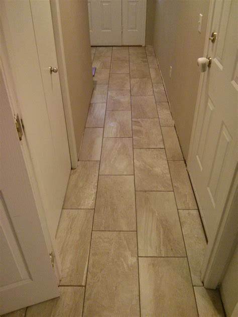 12x24 Porcelain Tile Basement Entry And Hallway Good