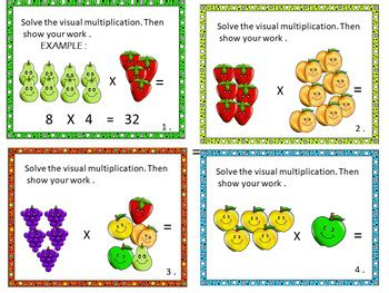 Visual Multiplication Task Cards By Christian Learning Center Tpt