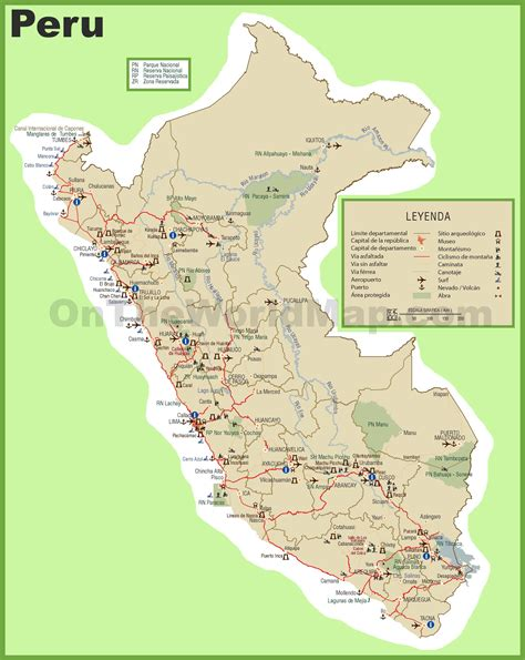 peru tourist map