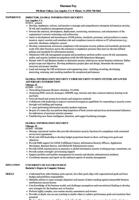 Director Of Security Resume Exles by Global Information Security Resume Sles Velvet