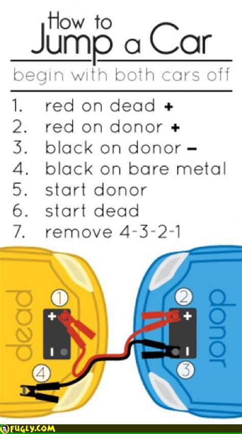 jump start car how to jump start a car sheet you can keep in your wallet