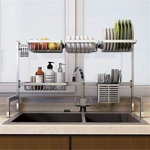 Over The Sink Stainless Steel Dish Rack Nonslip Height