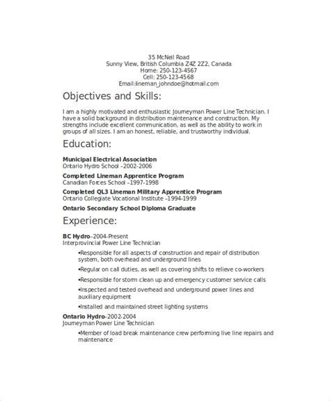 6 lineman resume templates pdf doc free premium templates